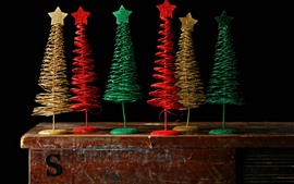 Preview wallpaper Colorful Christmas trees, toy