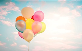 Preview wallpaper Colorful balloons, clouds, sky