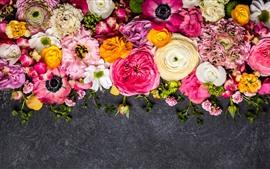 壁紙のプレビュー カラフルな花、ピンク、黄色、白