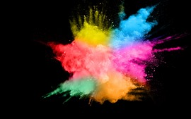 Preview wallpaper Colorful smoke, splash, abstract, black background