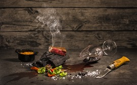Preview wallpaper Cooking, meat, firewood, glass cup, knife, pan