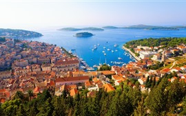Preview wallpaper Croatia, Adriatica, city, houses, sea, islands