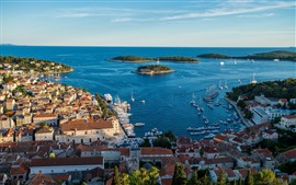 Preview wallpaper Croatia, Hvar, city, top view, houses, sea, coast