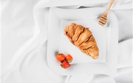 Preview wallpaper Croissant, strawberry, plate, white style