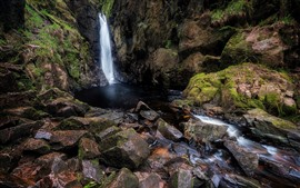Preview wallpaper Cumbria, England, waterfall, rocks, water