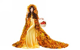 Aperçu fond d'écran Cheveux bouclés fille, feuilles d'érable jupe, pommes, fond blanc