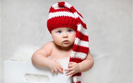 Preview wallpaper Cute baby, blue eyes, hat