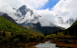 Preview wallpaper Daocheng Yading Scenic Area, China, mountains, trees, river, clouds, autumn