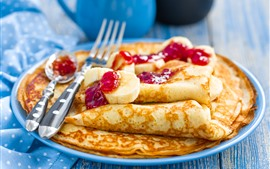 Preview wallpaper Delicious pancakes, jam, banana slice, fork, food