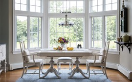 Dining room, table, window, white style
