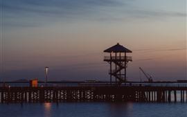 Dock, night, sea