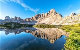 Dolomitas, Alpes, lago, reflexão da água