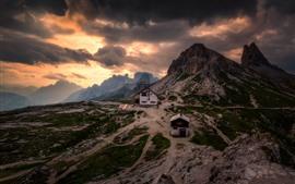 Dolomitas, montanhas, neve, noite, nuvens