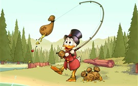Preview wallpaper Donald Duck, fishing money, Disney cartoon