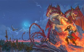 Preview wallpaper Dragon, fire, warrior, battle, art picture