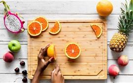 미리보기 배경 화면 용 과일, 파인애플, 오렌지, 복숭아, 사과, 체리