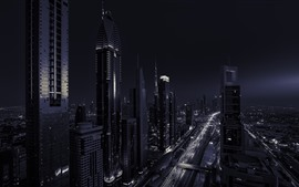 Preview wallpaper Dubai, UAE, skyscrapers, night, black and white picture