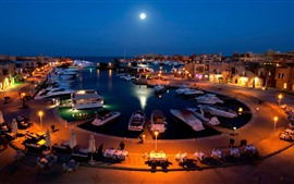 Dubai, city, yachts, water, moon, night, lights