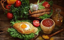 Ovo, carne, tomate, geléia, óleo, comida