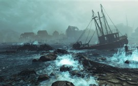 Fallout 4: Far Harbor, barco, mar, tempestade