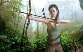 Fantasy girl, archer, bow, jungle