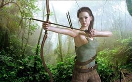 Aperçu fond d'écran Fille de fantaisie, archer, arc, jungle