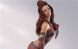 Preview wallpaper Fantasy girl, red hair, pose
