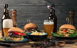 Preview wallpaper Fast food, burgers, beer, bottle, meal