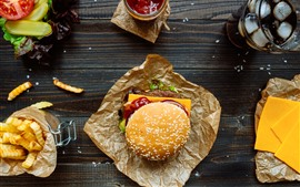Preview wallpaper Fast food, hamburger, sandwich, salad, tomato, cheese, drinks