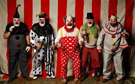 Aperçu fond d'écran Cinq clowns