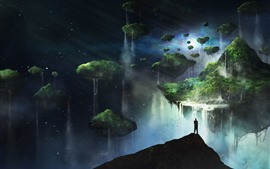 Preview wallpaper Float islands, fantasy, art picture