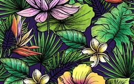Flores y hojas, fondo de textura de arte