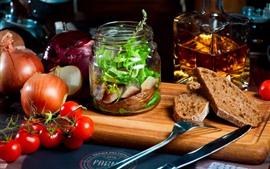 预览壁纸 食物,番茄,面包,肉,洋葱