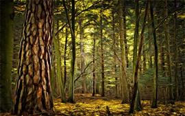 Лес, деревья, стиль