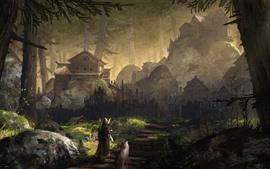 Forêt, village, archer, loup, peinture d'art