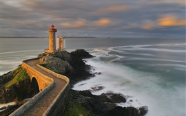 Preview wallpaper France, Brittany Coast, lighthouse, sea, dusk