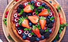 Aperçu fond d'écran Tarte aux fruits, fraise, myrtille, mûre