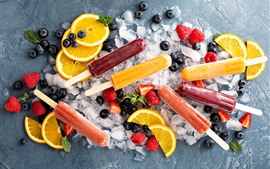 Preview wallpaper Fruit popsicle, ice cubes, orange slice, strawberry, blueberry