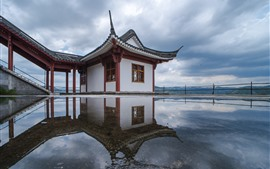Preview wallpaper Fuding city, temple, water, clouds, Fujian, China