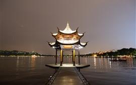 Gazebo, lago, noite, luzes, China