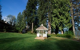 Preview wallpaper Gazebo, park, trees, meadow