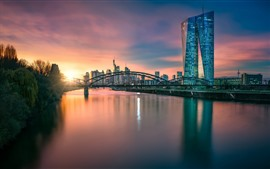 Germany, Frankfurt, Hesse, European Central Bank, river, bridge, dusk