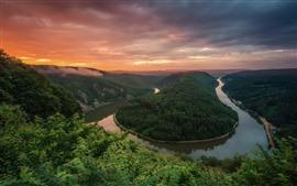 Alemanha, rio saar, curva, manhã, nuvens