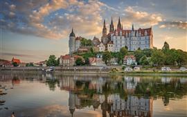 Alemania, Sajonia, ciudad, castillo, río