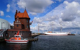 Germany, Stralsund, sailboat, port, clouds, sea