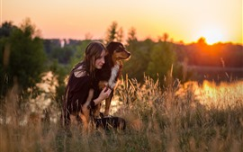 Preview wallpaper Girl and dog, grass, morning