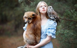 Preview wallpaper Girl and fox, owl, friends