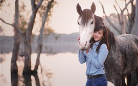 Girl and horse, pond