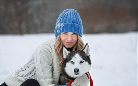 Preview wallpaper Girl and husky, dog, winter