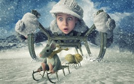 Girl and mouse, sled, winter, snow, peanuts, creative picture